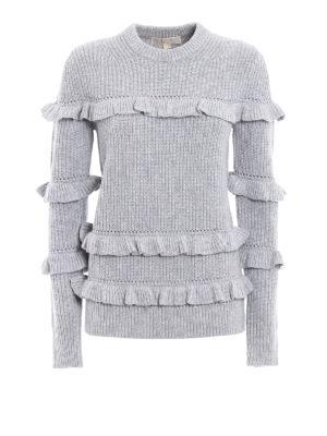 Michael Kors: crew necks - Wool blend frilled sweater