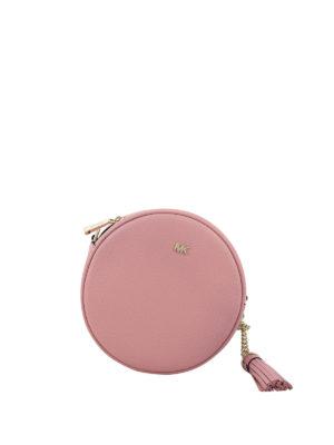 07fa46b641 MICHAEL KORS: borse a tracolla - Borsa disco Canteen M in pelle rosa chiaro