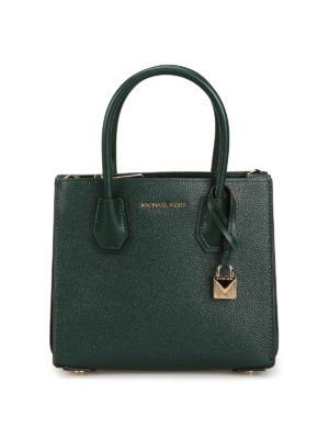 MICHAEL KORS: cross body bags - Mercer M dark green leather bag