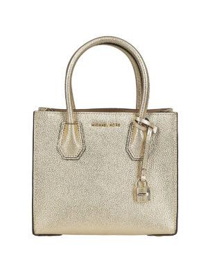 MICHAEL KORS: borse a tracolla - Mercer S in pelle metallizzata