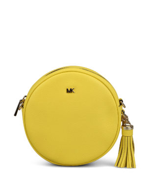 MICHAEL KORS: cross body bags - Yellow hammered leather circle bag