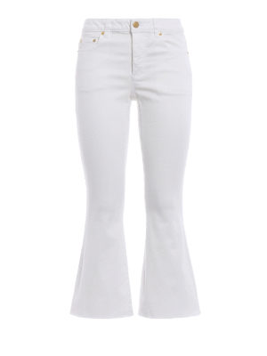 Michael Kors: flared jeans - Crop flared white cotton jeans