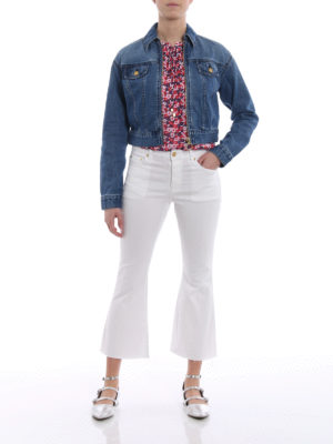Michael Kors: flared jeans online - Crop flared white cotton jeans