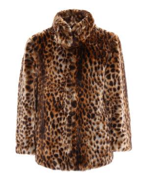Michael Kors: Fur & Shearling Coats - Animal print faux fur A-line coat