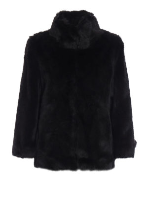 Michael Kors: Fur & Shearling Coats - Faux fur A-line short coat