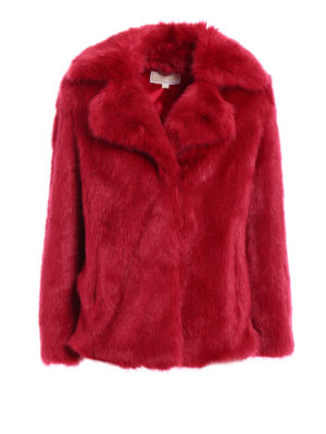 Michael Kors: Fur & Shearling Coats - Faux fur over short coat