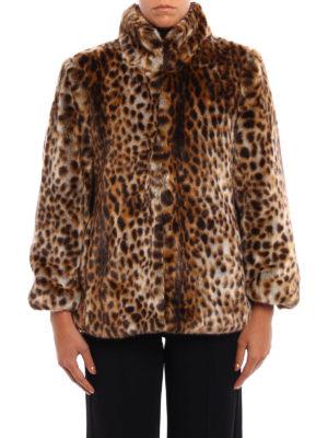 Michael Kors: Fur & Shearling Coats online - Animal print faux fur A-line coat
