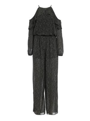 Michael Kors: jumpsuits - Floral crepe frilled jumpsuit