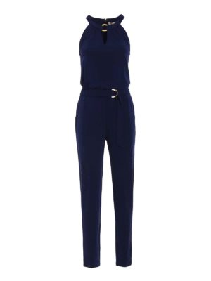 Michael Kors: jumpsuits - Halter neck blue jersey jumpsuit