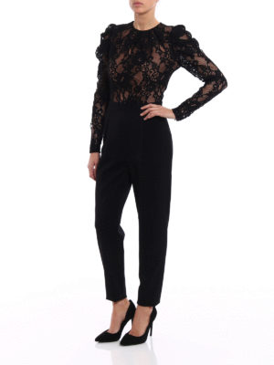 Michael Kors: jumpsuits online - Floral lace long sleeve jumpsuit