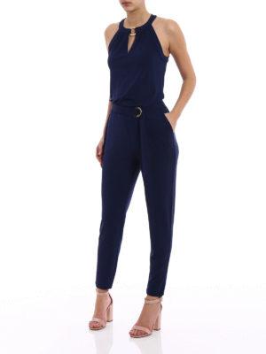 Michael Kors: jumpsuits online - Halter neck blue jersey jumpsuit