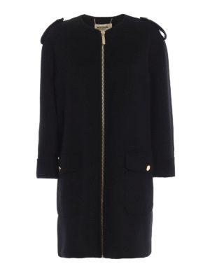 MICHAEL KORS: cappotti al ginocchio - Cappotto senza collo nero con zip dorata