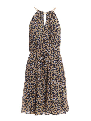 Michael Kors: knee length dresses - Chain neckline animal print dress