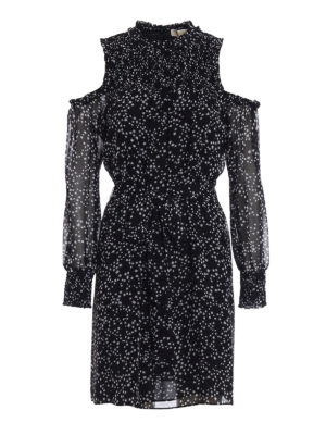 Michael Kors: knee length dresses - Cut-out shoulders star print dress