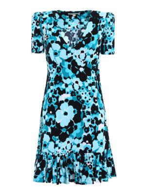 Michael Kors: knee length dresses - Floral jersey short flounced dress