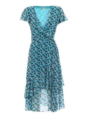 Michael Kors: knee length dresses - Floral printed chiffon wrap dress