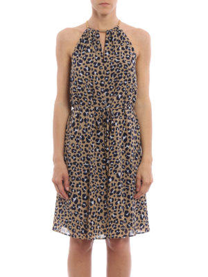 Michael Kors: knee length dresses online - Chain neckline animal print dress