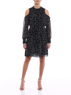Michael Kors: knee length dresses online - Cut-out shoulders star print dress