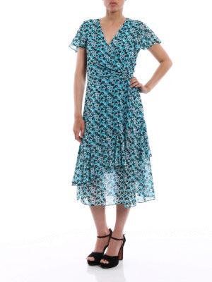 Michael Kors: knee length dresses online - Floral printed chiffon wrap dress
