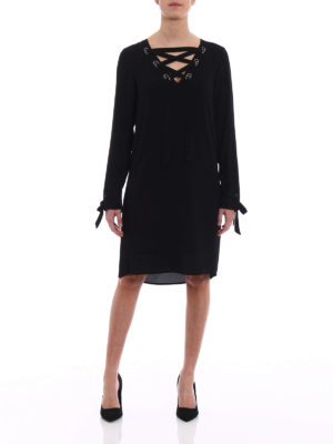 Michael Kors: knee length dresses online - Ribbon detailed crêpe dress