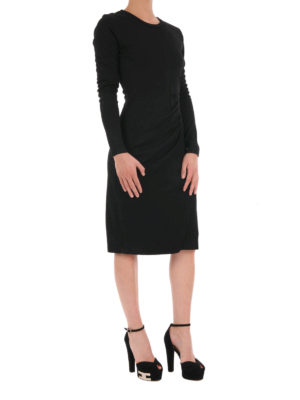 Michael Kors: knee length dresses online - Wool blend draped dress