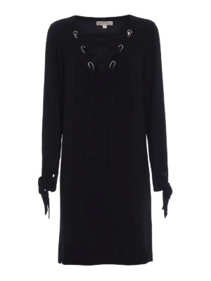Michael Kors: knee length dresses - Ribbon detailed crêpe dress