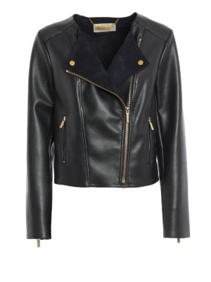Michael Kors: leather jacket - Faux leather biker jacket