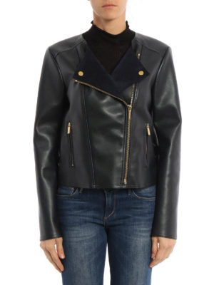 Michael Kors: leather jacket online - Faux leather biker jacket