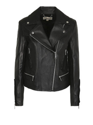 MICHAEL KORS: giacche in pelle - Giacca biker in pelle con ruches