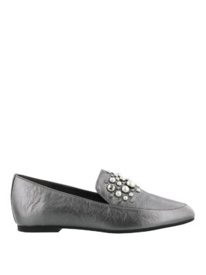 MICHAEL KORS: Mocassini e slippers - Mocassini argento decorati Gia