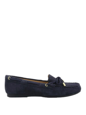 MICHAEL KORS: Mocassini e slippers - Mocassini Sutton in suede blu scuro