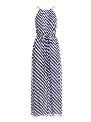 Michael Kors: maxi dresses - Chain detailed striped long dress