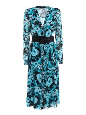 Michael Kors: maxi dresses - Floral printed chiffon  shirt dress