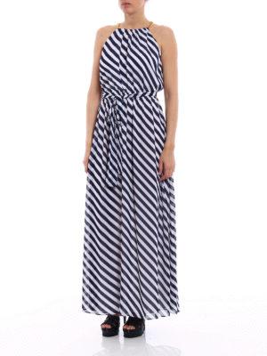 Michael Kors: maxi dresses online - Chain detailed striped long dress