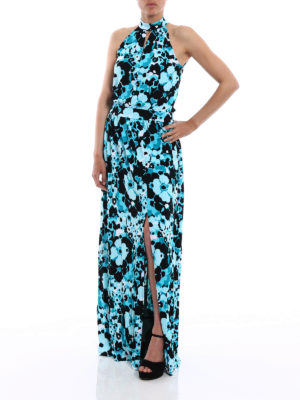 Michael Kors: maxi dresses online - Halterneck floral jersey maxi dress