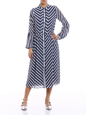 Michael Kors: maxi dresses online - Pleated front striped cady dress