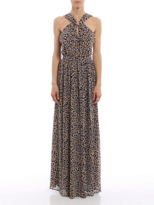 Michael Kors: maxi dresses online - Ring neckline animal print dress