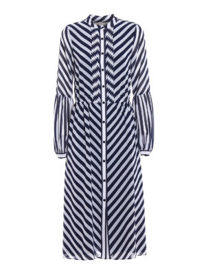 Michael Kors: maxi dresses - Pleated front striped cady dress