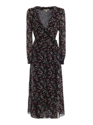 MICHAEL KORS: abiti lunghi - Abito a vestaglia in crepe a fiori con ruches