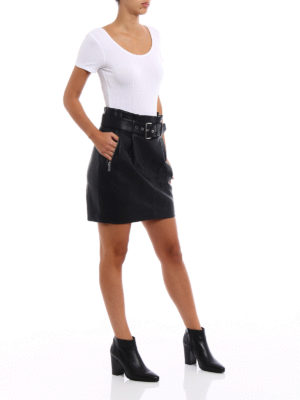 Michael Kors: mini skirts online - Faux leather belted mini skirt