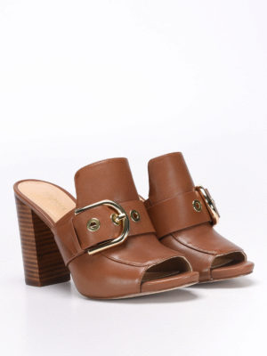 Michael Kors: mules shoes online - Leather mules with open toe