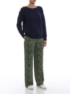 MICHAEL KORS: maglia collo a barchetta online - Maglione blu a coste con bottoni dorati