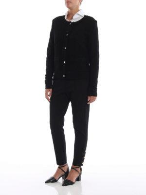 MICHAEL KORS: cardigan online - Cardigan nero in maglia di lana a nido d'ape