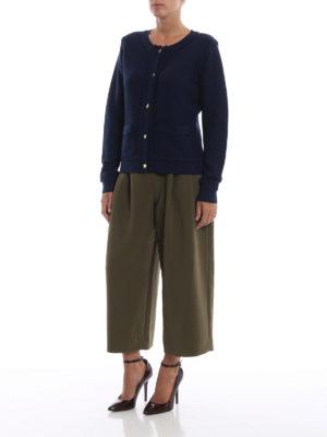 MICHAEL KORS: cardigan online - Cardigan blu in maglia di lana a nido d'ape