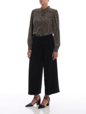 MICHAEL KORS: pantaloni casual online - Pantaloni crop neri in cady a gamba larga