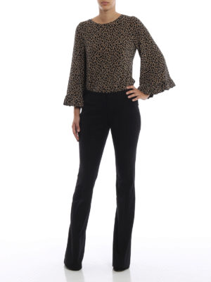 MICHAEL KORS: pantaloni casual online - Pantaloni neri in misto cotone a zampa