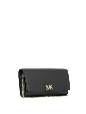 MICHAEL KORS: pochette online - Clutch Mott in pelle nera con logo MK