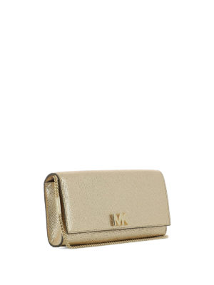 MICHAEL KORS: pochette online - Clutch Mott in pelle oro con logo MK