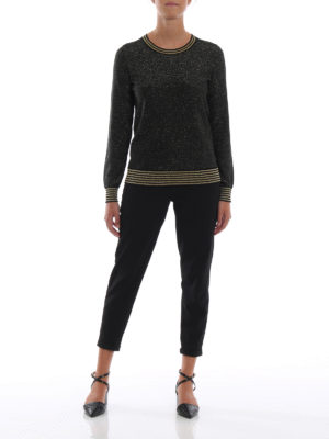 MICHAEL KORS: maglia collo rotondo online - Maglia in viscosa e lurex nero e oro