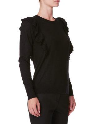 MICHAEL KORS: maglia collo rotondo online - Girocollo in misto cashmere con balze